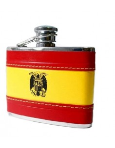 San Juan Eagle Spanish Flag Leather Liquor Flask