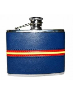 Spanish Flag Detail Blue Leather Liquor Flask