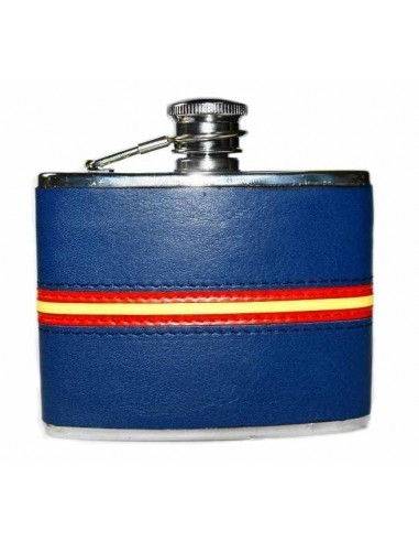 Spanish Flag Detail Blue Leather Liquor Flask
