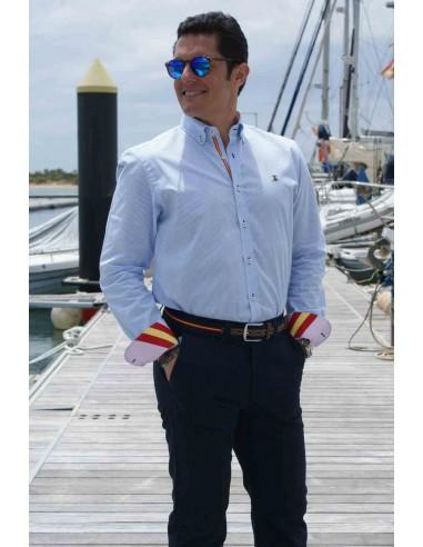 Camisa Hombre Rayas Celestes -Rosa