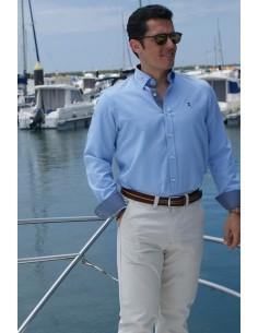 Camisa Hombre en Oxford con Micro-Estampado