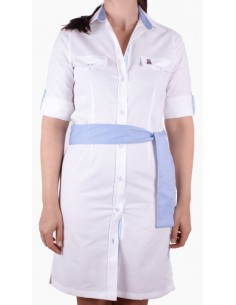 Shirt Dress - White and Sky Blue