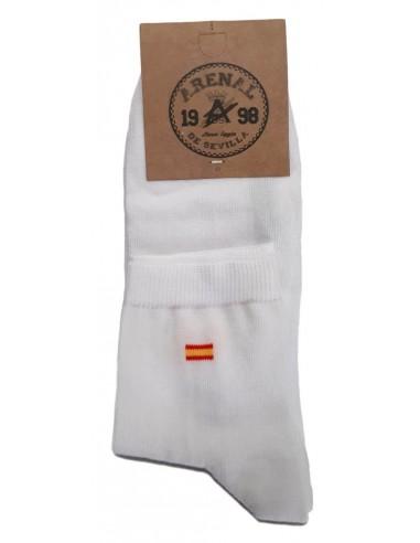 Calcetines Tobilleros Blancos con Bandera de España