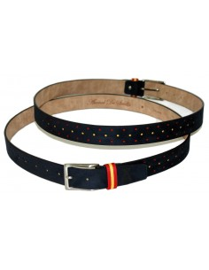 Perforated Serraje Belt Flag Spain Marino