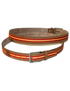Leather Belt - Split Leather Spain Flag Leather