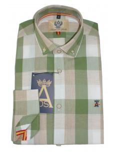 Camisa Hombre Cuadros Camel Bandera España