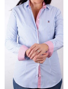 500 Striped Shirt - Light Blue and White