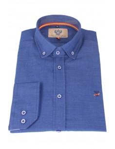 Camisa Hombre Azul con Coderas Bandera España