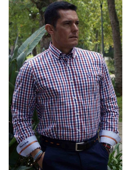 Camisa Hombre de Cuadros Bandera España