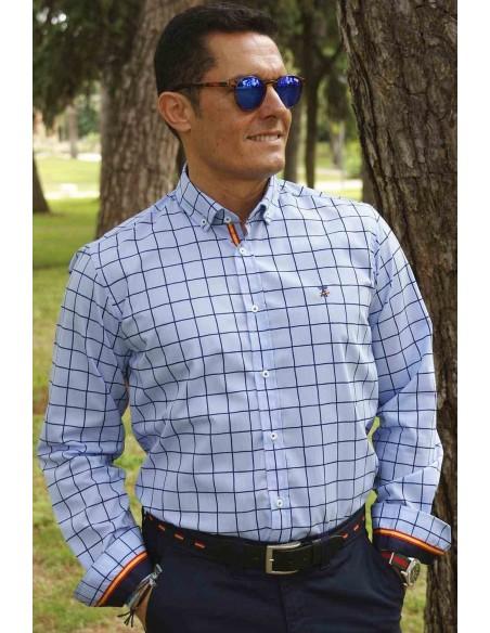 Camisa Hombre Cuadros Marinos