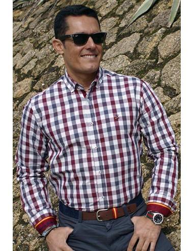 Camisa Hombre Cuadros Burdeos Bandera España