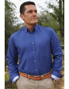 Blue men's shirt with elbow patches and Spanish flag details
