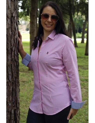 Camisa Mujer Cuadros Rosas Bandera España