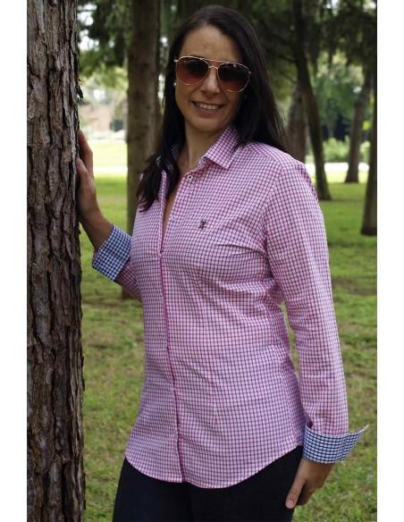 Camisa Mujer  Bandera España Cuadros Rosas