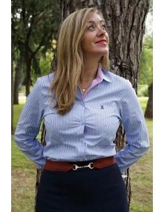 Camisa de rayas celestes y blancas con detalles bandera de