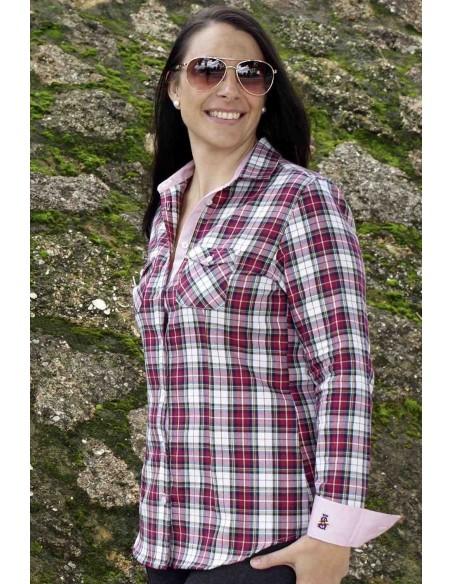Camisa Mujer Bandera España de Villela Cuadros Tonos Rojos