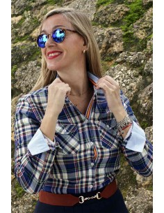 Camisa Mujer Villela Cuadros Tonos Azules Bandera España