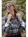 Camisa Mujer Bandera de España Villela Cuadros Tonos Azules