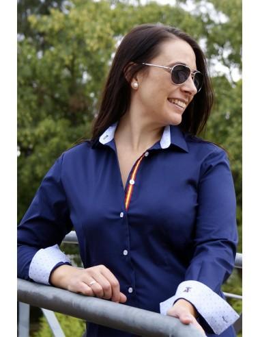 Camisa Mujer Azul Marina Bandera España