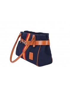 Spanish Flag Details Hand Bag - Navy Blue