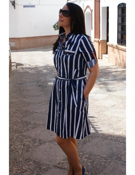Blue and White Shirt Dress Spain Flag