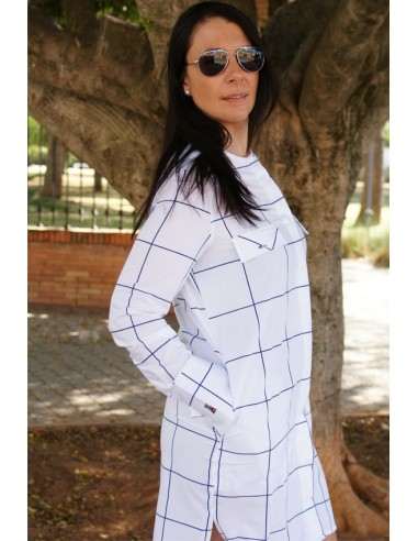 Vestido Camisero Bandera de España blanco con Cuadros azules