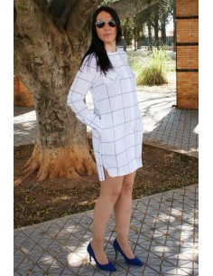 white Plaid Shirt Dress Flag Spain
