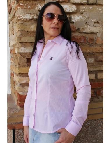 Camisa Mujer Bandera España Cuadros Rosas y Blancos