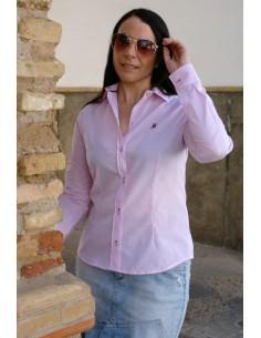 Camisa Mujer Cuadros Rosas y Blancos Bandera España