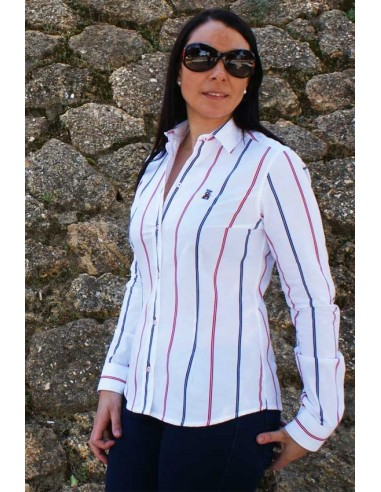 Shirt Woman Red and Blue Stripes Flag Spain