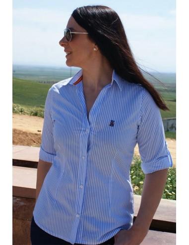 07e02aeea063 Camisa Mujer Rayas Celestes Bandera España