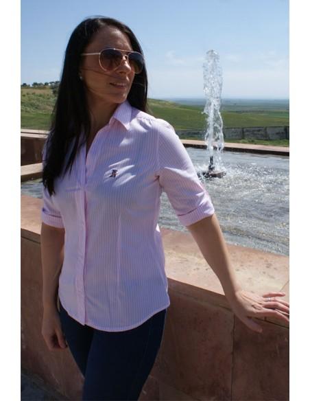 Camisa Mujer Rayas Rosas Bandera España