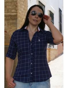 Camisa Mujer Azul Cuadros Bandera España