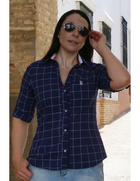 Camisa Mujer Bandera España Azul Cuadros