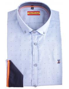 Camisa de Hombre Celeste Estampada con Bandera