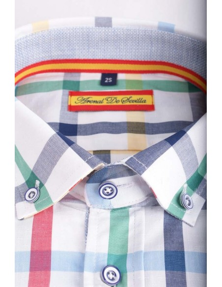 Camisa de Hombre Cuadros con Bandera de España