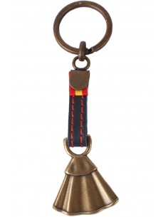 Taurine Keychain with Cloak and Spain Flag - Old Silver