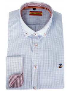 Checked Shirt with Spanish Flag Details - Blue and Red