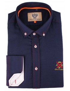 Navy man shirt with details of the flag of Spain