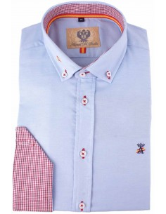 light blue man shirt with details of the flag of Spain
