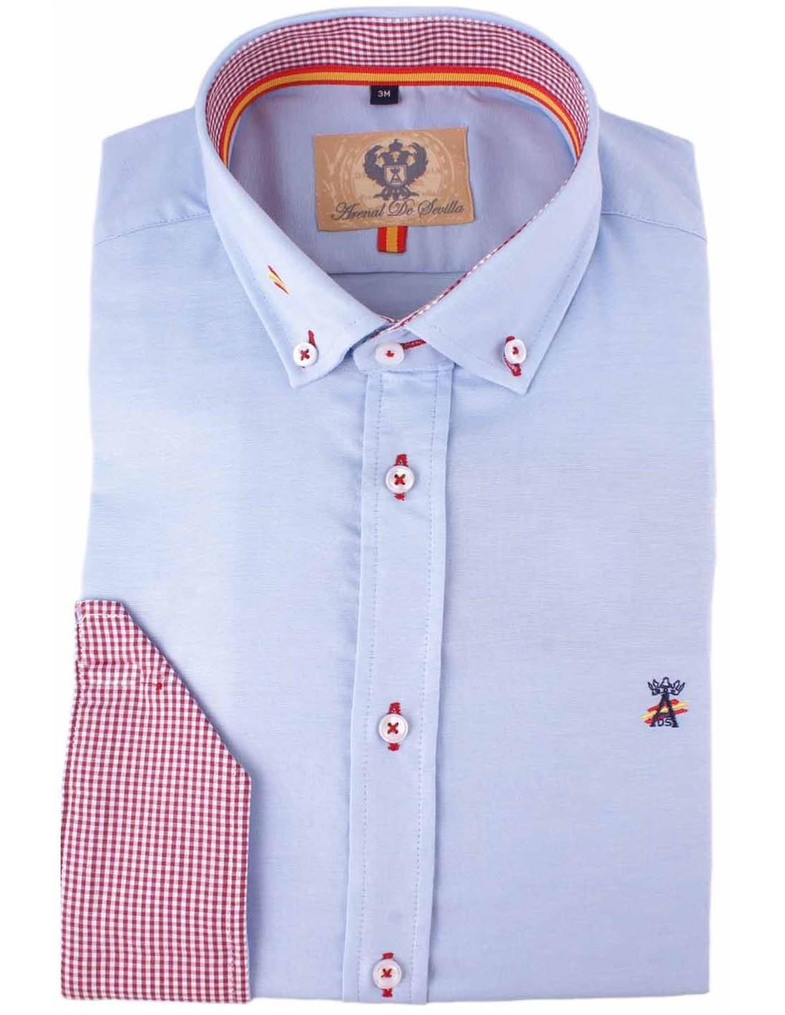 bde9e92cf Camisa celeste en oxford con detalles de la bandera de España