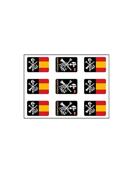 Pack Mini Pegatinas Bandera Legión Española x9