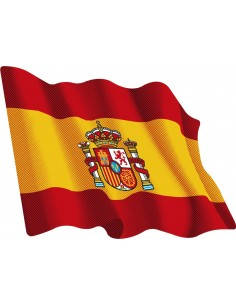 Waving spanish flag sticker medium size