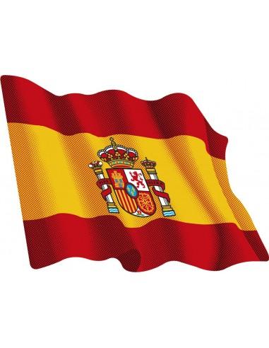 Pegatina Bandera España Actual Ondeante Mediana