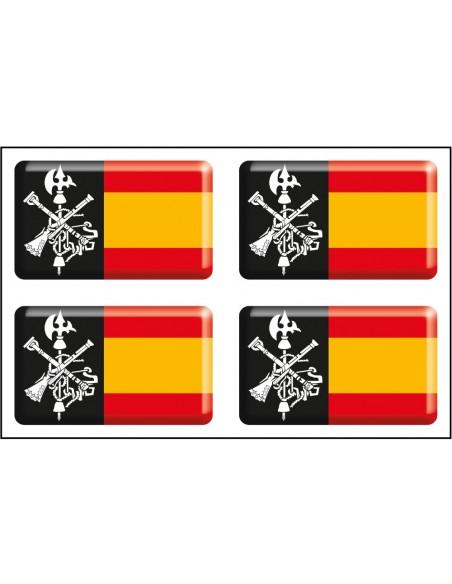 Pack Pegatinas 4 Bandera España sin Escudo - Escudo Legión