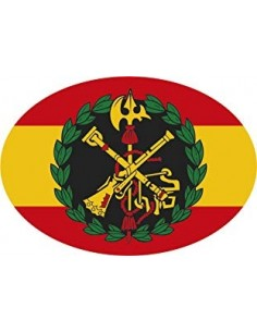 Spain Flag Sticker with Embossed Legion Shield