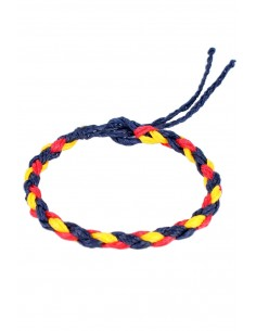 Braided Blue Waxed Thread Bracelet with the Spanish Flag