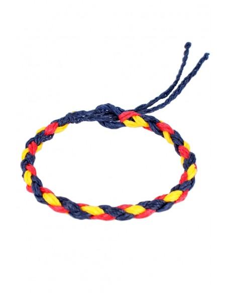 Braided Blue Waxed Thread Bracelet with the Spanish Flag