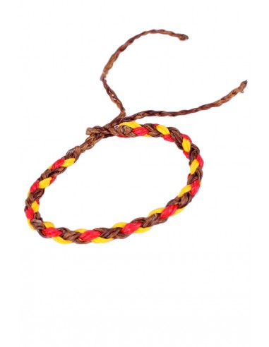 Braided Brown Waxed Thread Bracelet with the Spanish Flag