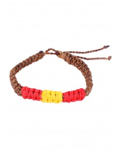 Waxed Bracelet brown Flag Spain